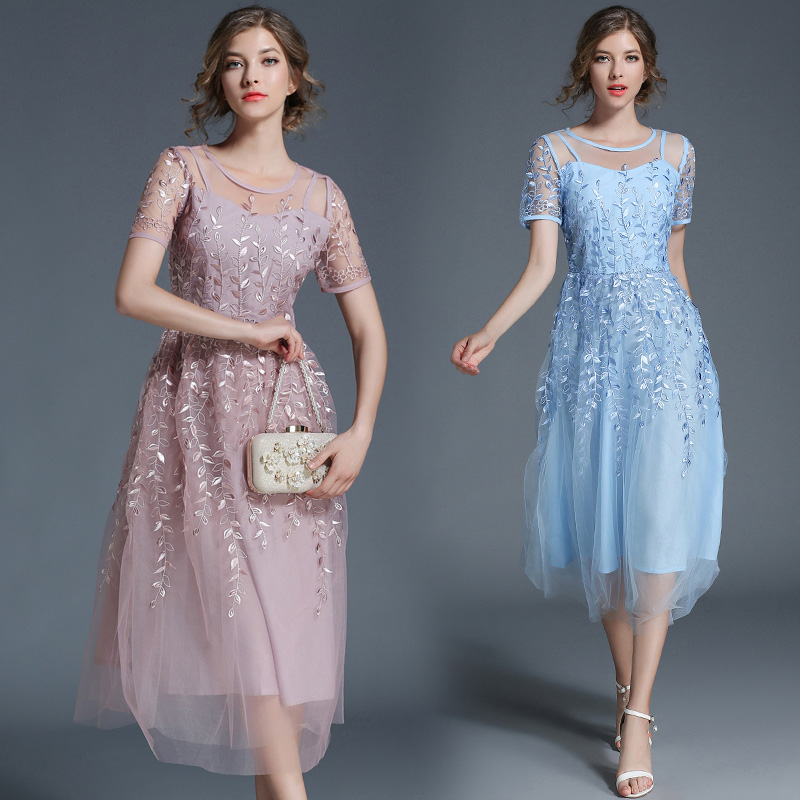 Nouveau printemps et été net fil broderie lourde longue ligne robe en dentelle avec manches courtes mode européenne femmes o cou vestido
