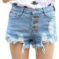 Franja Buraco De Cintura Alta Jeans Calças Curtas Mulheres Verão 2016 New Fashion Ripped Sexy Hot Calças Jeans de Algodão Branco calças de Brim calções
