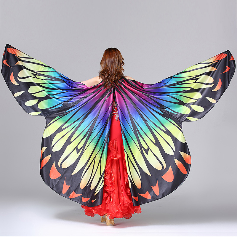 2018 Performance Women Dancewear Stage Props Polyester Cape Cloak Dance Fairy Wing Belly Dance Butterfly Wings