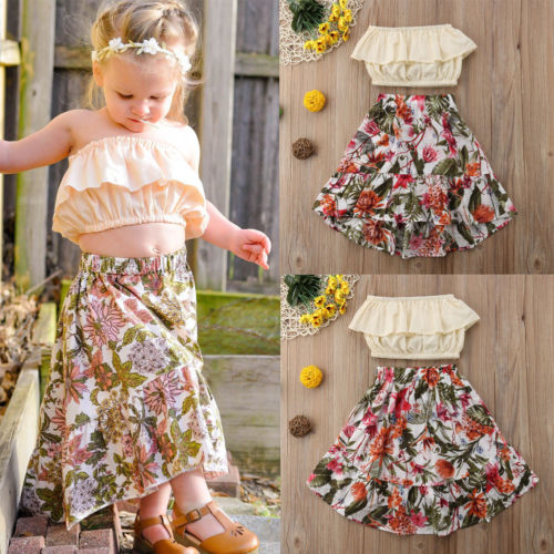 e2ea02f9267 2pcs Toddler Infant Baby Girls Outfits Off Shoulder Ruffle Bob Tube Top  Floral Maxi Skirt Kids Summer Clothes Baby Girl 1 7T-in Clothing Sets from  Mother ...