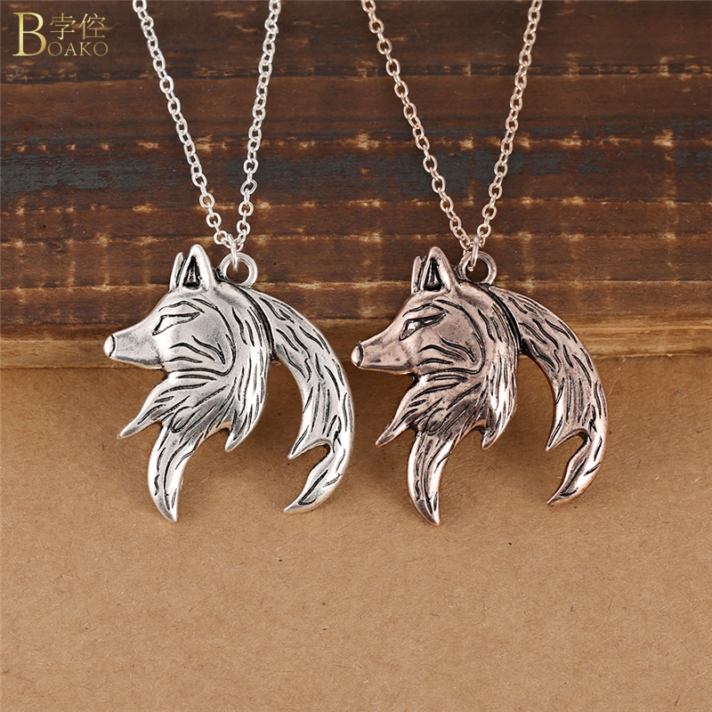 BOAKO Wolf Necklace Men Vintage Wolf Necklace Women Interlocking Pendant Necklace <font><b>Couple</b></font> <font><b>Jewelry</b></font> Lover collar de lobo Z5 image