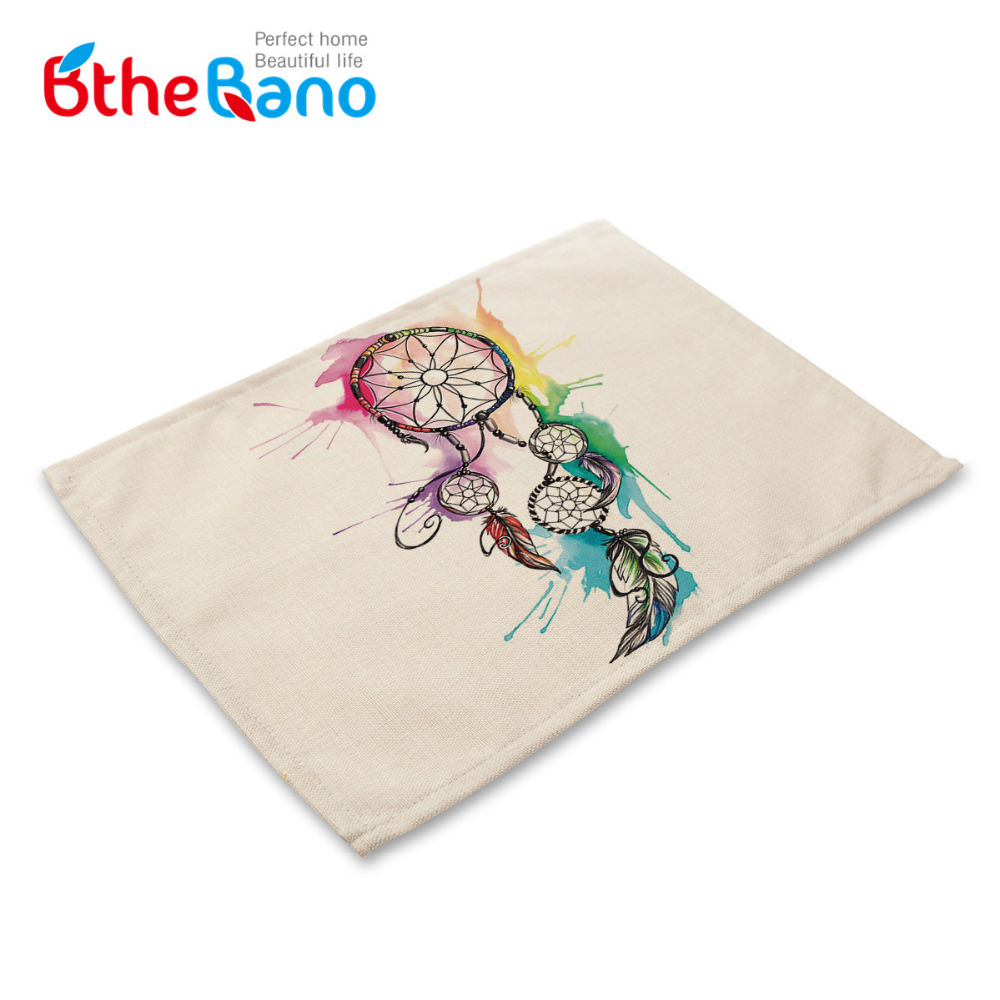 Dining table mats designs - Vintag Dreamcatcher Design Cotton Linen Dishware Table Mat For Dining Table Desk Accessories Mesa Placemat Free