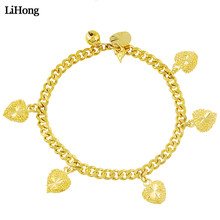 24k Gold Color Bracelet Cuban Chain Heart Pendant For Female Fashion Hot Sale Jewelry 2019 Gift