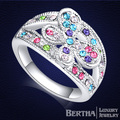 Butterfly Flower Finger Rings Anillos Genuine Crystal From Swarovski Engagement Rings For Women
