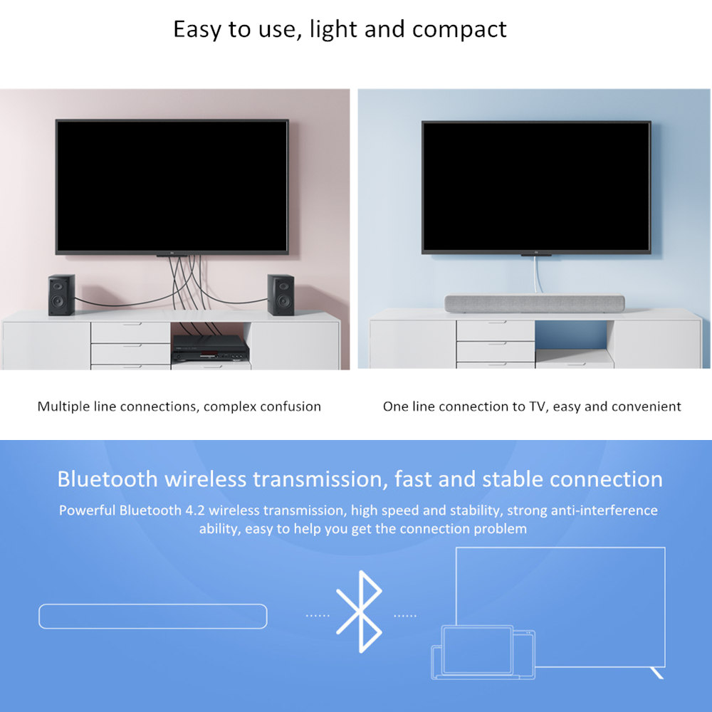 US $59 99 |Xiaomi Mi Wireless TV Audio 2019 Home Theater Speaker Soundbar  SPDIF Optical Aux Line Sound Bar Support Sony Samsung LG TV-in Soundbar  from