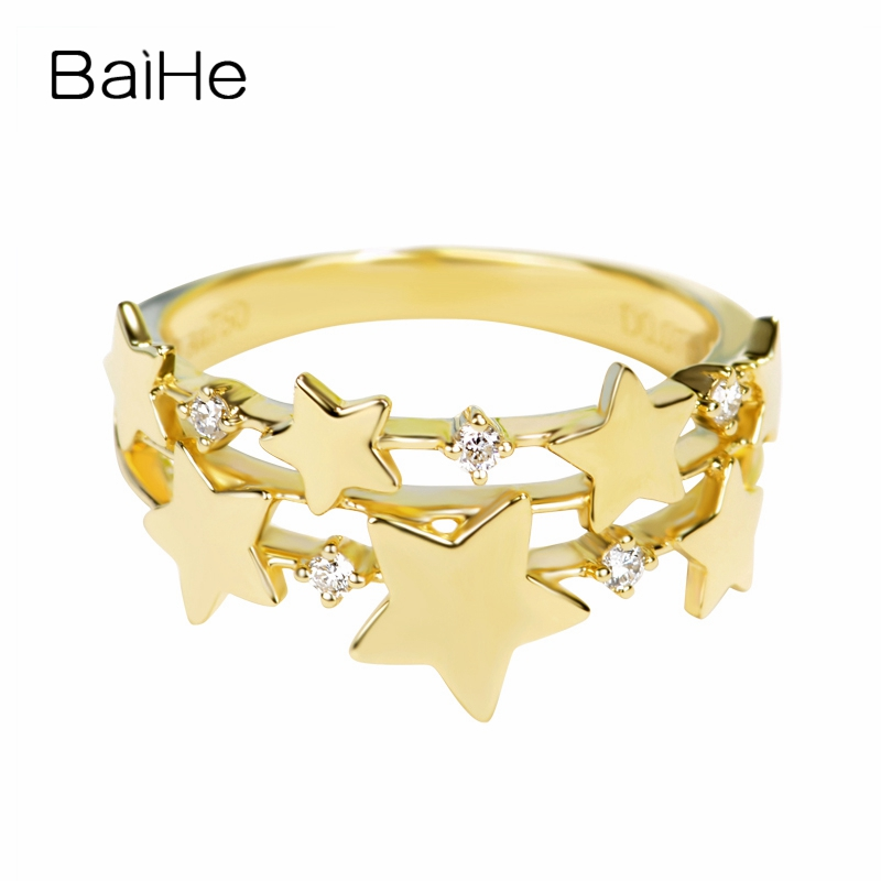 BAIHE Solid 14K Yellow Gold 0.07CT Certified H/SI Round Single Cut 100% Genuine Natural Diamonds Women Trendy Fine Jewelry Ring BAIHE Solid 14K Yellow Gold 0.07CT Certified H/SI Round Single Cut 100% Genuine Natural Diamonds Women Trendy Fine Jewelry Ring