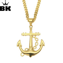 Men Stainless Steel Necklace Gold Color Plated Titanium Anchor Pendant Jewelry 5mm 70cm Length Steel Chain Necklace Gift(China)