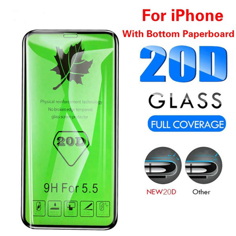 20D Curved Edge Full Cover Protective Glass on For IPhone 7/7plus/XR/8/6/6S/X Plus Tempered Screen Protector for Iphone XS Max