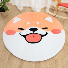 Cute Dog Round Carpet Suede Mat Child Non-slip Pads Home Swivel Chairs Cushion Rug