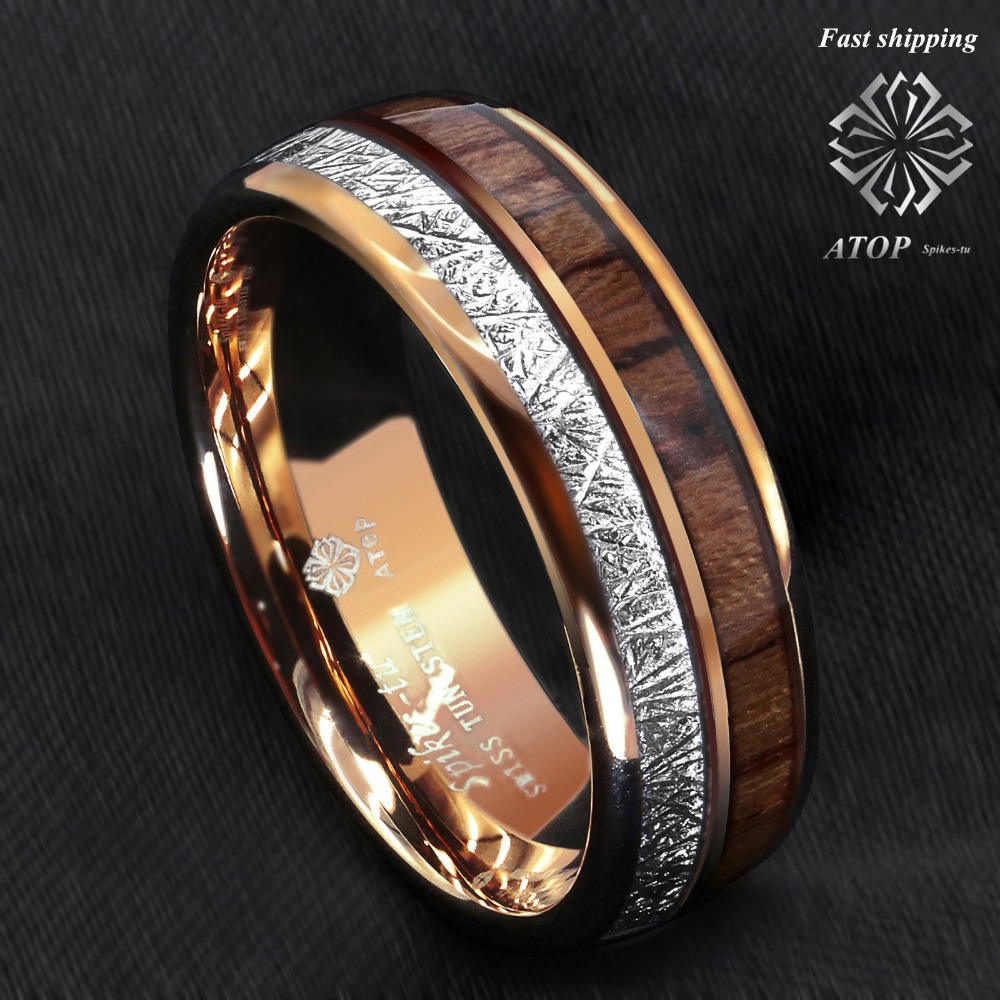 8mm Rose Gold Dome Tungsten Ring Silver Koa Wood Inlay
