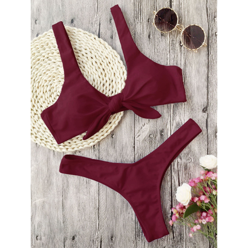Zaful Swimsuit New Arrival Women Knotted Padded Thong Bikini Mid Waisted Solid Color Scoop Neck Brazilian Biquni Beach Swimwear 4