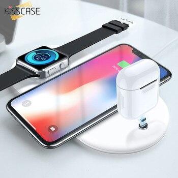 Kisscase 3 in1 qi 무선 충전기 아이폰 8 x xr xs 최대 시계 무선 충전기 airpods 시계 휴대 전화 빠른 충전