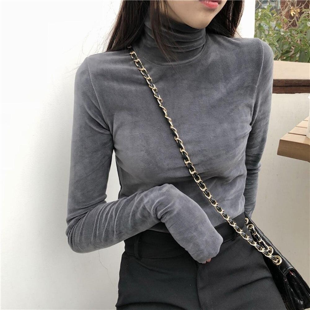 Women T Shirt Warm Gold Velvet Pullovers Tops Winter Warm Turtleneck Long Sleeve Tshirt High Collar Bottoming Slim T-shirt 2019