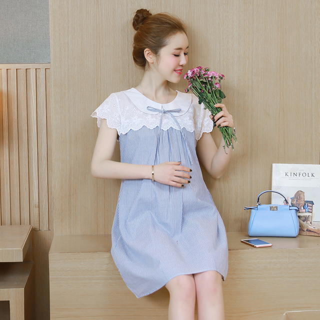 Pengpious 2019 loose cotton linen patchwork lace short-sleeved summer maternity  dress pregnant women peter pan color cute dress 9eb364c8f510