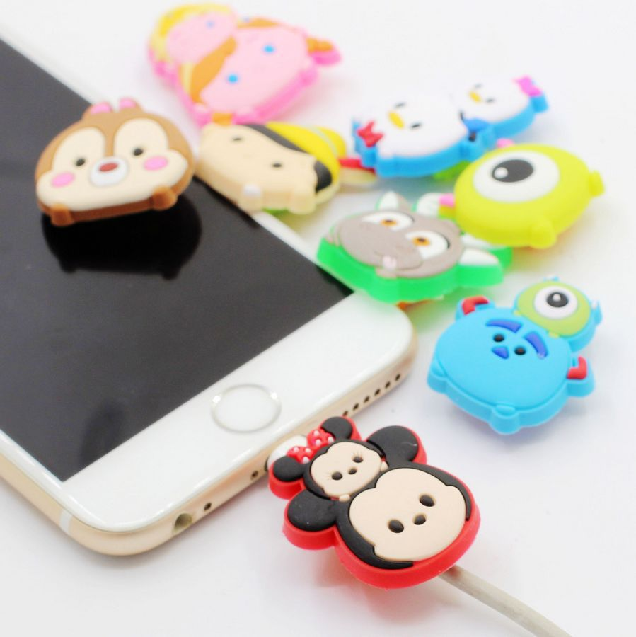 100pcs Cartoon USB Charger Cable Organizer Cable Protector For iphone 5 6 6s 7 plus 8 iPad Headphone cable saver Protection