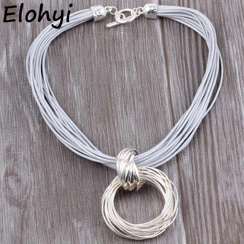 ELOYHI Boho Multiple Simple Double Circles Matching Wax Rope Collar Top Quality Plated For Women Trendy Neckalce&Pendants Gift