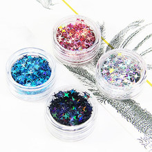Diy Crystal Slime Supplies Ultra-thin Slices Four Star Glitter Nails Art Tips Box Accessories Decoration Toys For Kids(China)