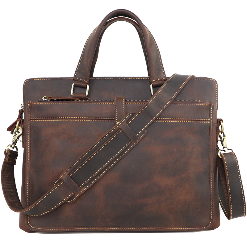 Luxury Pure Handmade Crazy Horse Leather Men Business Briefcase Vintage Genuine leather Shoulder Bag Casual Men Leather Handbags huifengazurrcs new pure handmade casual