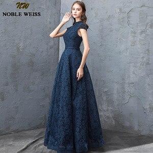 Image 5 - Благородные винтажные платья WEISS с высоким воротом для выпускного вечера 2019, сексуальное кружевное платье с открытой спиной, официальное длинное вечернее платье до пола
