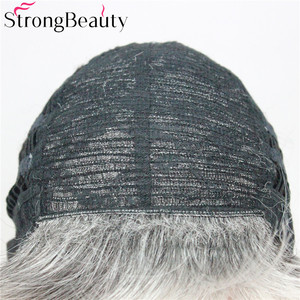 Image 5 - 強力な美容ショートグレー黒ウィッグ 2 トーン女性のかつらサイド掃引前髪人工毛