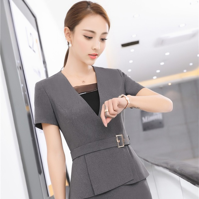 Novelty Grey Summer Short Sleeve Formal Blazer Coat Business Women ...