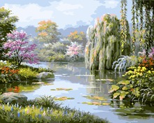 park willow springtime Scenery DIY Digital Painting By Number Modern Wall Art Canvas Unique Gift Room Decor 40x50cm