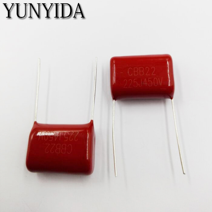 Free Shipping 10pcs 450V 225J 2.2uF CBB Polypropylene Film Capacitor Pitch 20mm 225 2.2uF 450V Capacitors