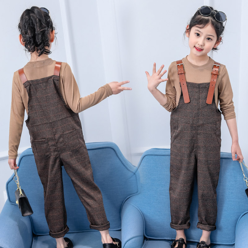 Girl Overall Set Tops T-shirt + Bib Suspender Pants Outfits Set Costume 5-13 Year Old Children Clothing Set Coffee Brown Color