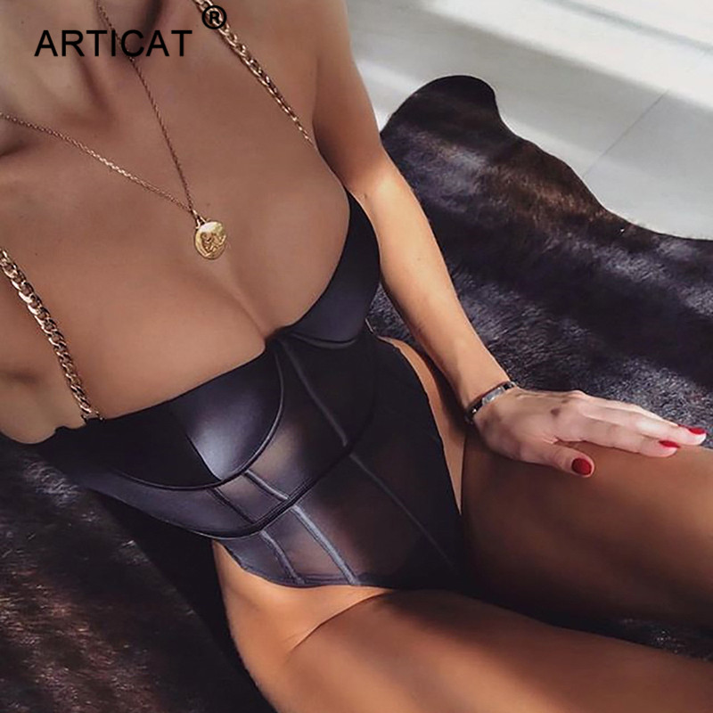 Articat Metal Chain Strap Sexy Mesh Bodysuit Women Backless Transparent Bodycon Rompers Womens   Jumpsuit   Black Party Bodysuits