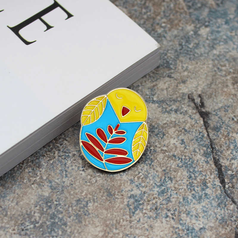 Cute animal brooch Cartoon chick Little bird owl Enamel pin cowboy Leather clothing Bag Fashion Accessories Children's gift