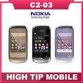 Мобильный телефон NOKIA C2-03, разблокированный Bluetooth MP3 двойной SIM сенсорный экран сотовый телефон отремонтированный
