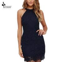 SESOAF Womens Elegant Wedding Party Sexy Night Club Halter Neck Sleeveless Sheath Bodycon Lace Dress Mini