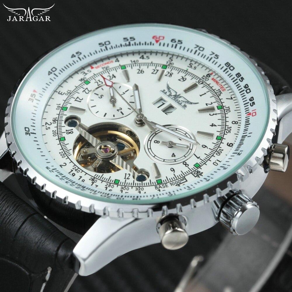 Mode Sport Tourbillon Hommes Montres Top Marque De Luxe JARAGAR Automatique Mécanique Montres sous-cadrans Affichage Horloge En Cuir