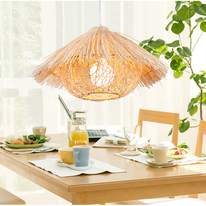 lighting lamps weaving farm Chinese garden rattan pendant light simple creative dining room bedroom balcony zb22
