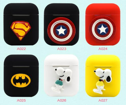 Cartoon cute Silicone Bluetooth Wireless Earphone Case for AirPods Protective Cover for Apple Air Pods Charging Box