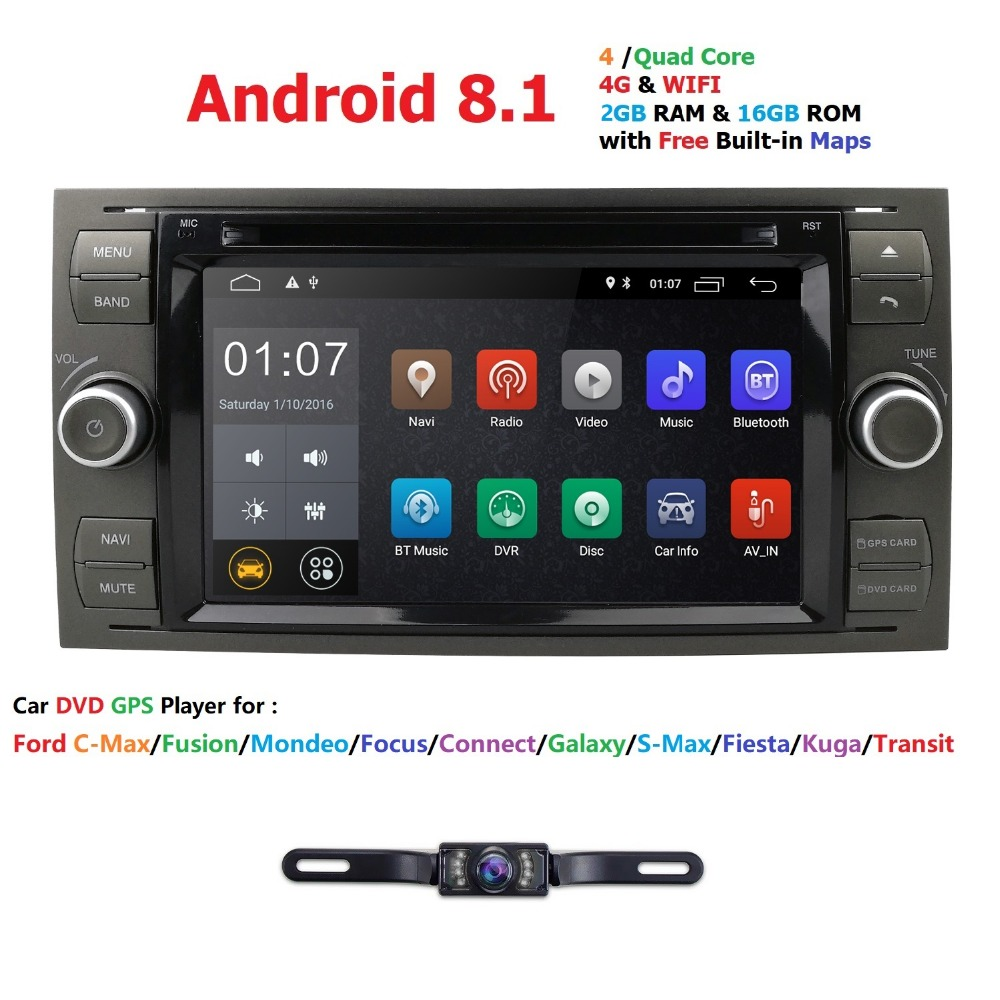 Pure Android 8.1 Car DVD GPS Navi Player Stereo Radio Audio 4G For Ford Focus 2 Mondeo S C Max Fiesta Galaxy Connect With Camera