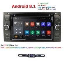 Чистый андроид 8,1 автомобиль DVD плеер с JPS и навигацией стерео радио аудио 4G для Ford Focus 2 Mondeo S C Fiesta Galaxy соединиться с Камера