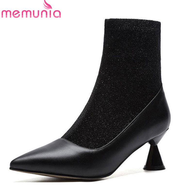 MEMUNIA 2018 big size 33-43 pointed toe ankle boots for women fashion Stretch boots high heels dress shoes woman autumn shoesMEMUNIA 2018 big size 33-43 pointed toe ankle boots for women fashion Stretch boots high heels dress shoes woman autumn shoes