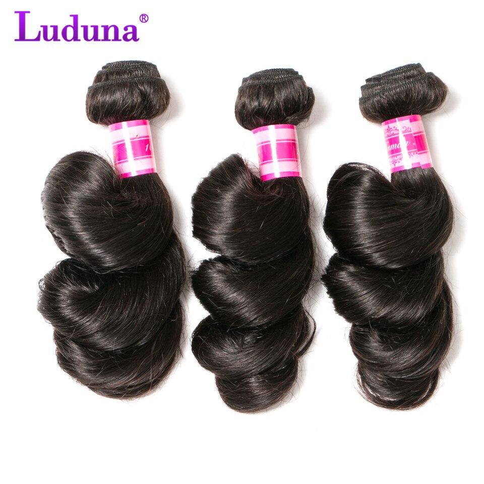 Luduna волос бразильские свободная волна 3 пучки упругий волос натуральный черный Цвет не Реми Химическое наращивание волос 100% Человеческие в...