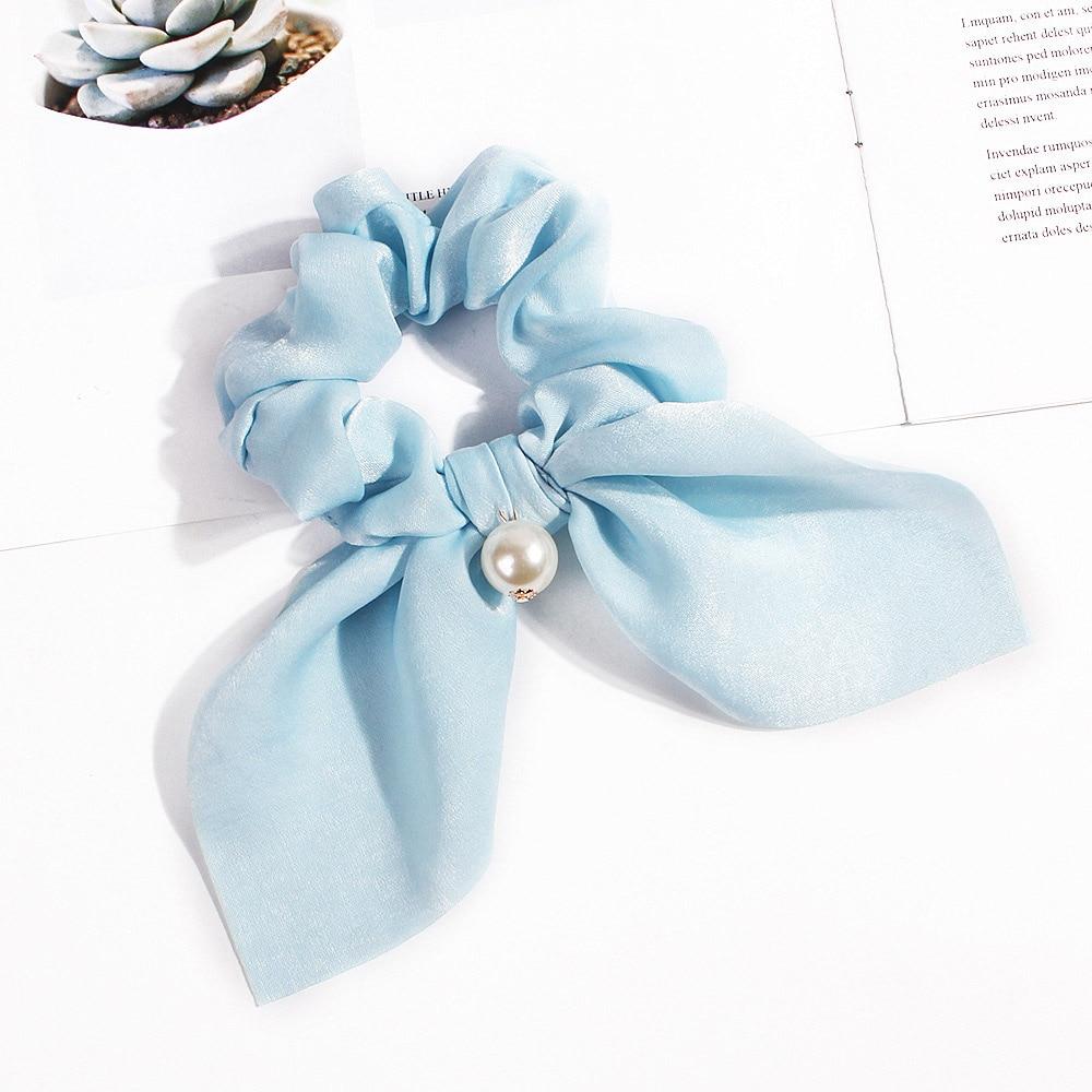 Nouveau mousseline de soie Bowknot élastique bandes de cheveux pour les femmes filles perle chouchous bandeau cheveux cravates élastique pour queue de cheval accessoires de cheveux 30