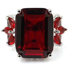 6.5 # Creado SheCrown Blood Ruby Compromiso de la Mujer 925 Anillo de Plata 24x18mm