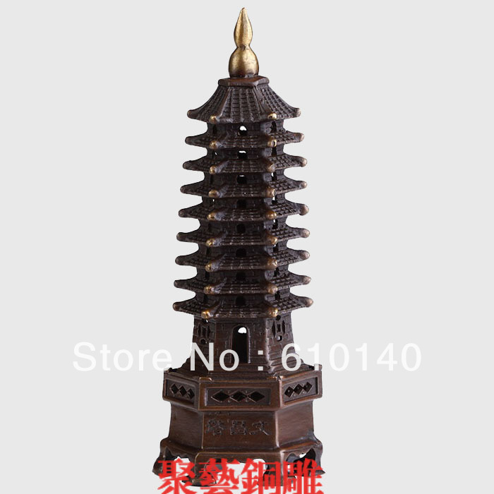 Copper wenchang tower decoration wenchang tower feng shui home decoration puzzle Bronze statue copper