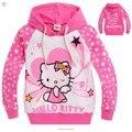 2016 новая Коллекция Весна Hello Kitty девушки одежда с длинным рукавом детская одежда, девушки нова рубашки, ребенок Весенние толстовки Топы и Тройник