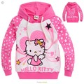 2016 nueva Primavera Hello Kitty niñas ropa de niños ropa de manga larga, niñas nova camisetas, niño Primavera sudaderas con capucha Tops y Camisetas