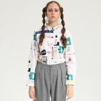 High Quality Fashion Women Long-sleeved Blouse Autumn Spring New Digital Printing Graffiti Harajuku Playful Shirts Female Cute