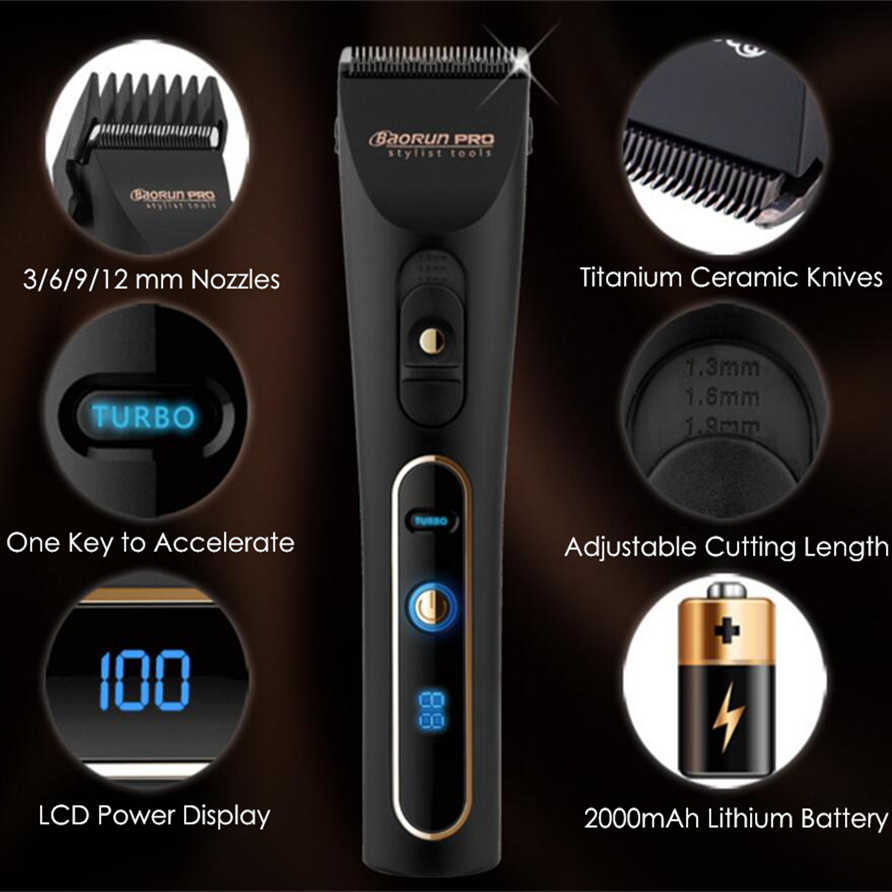 Professional Rechargeable Hair Clipper 18650 Lithium Battery Electric Hair Trimmer Beard Shaver for Men Hair Cutting Machine