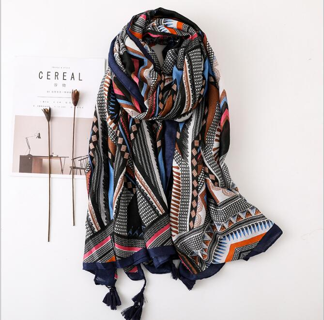 Vintage Fashion Women Geometric Scarves Printed Thin Silk Neck Wraps Scarf High Quality Black Pink