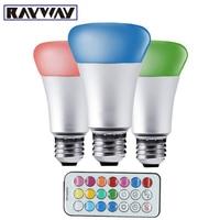 RAYWAY Aluminum IR Remote Dimmable 10W E27 RGB Bulb Light AC 85 265V RGBW RGBWW Stage