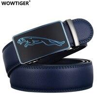 REGITWOW New Jaguar Fashion Designer 3 5cm Belts For Men Sliding Buckle Ratchet Luxury Leather Men