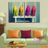Цветной на высоком каблуке Обувь девушка мечты Куадрос Decoracion холст картины Плакаты и принты собака стены фотографии плакат без оформлена
